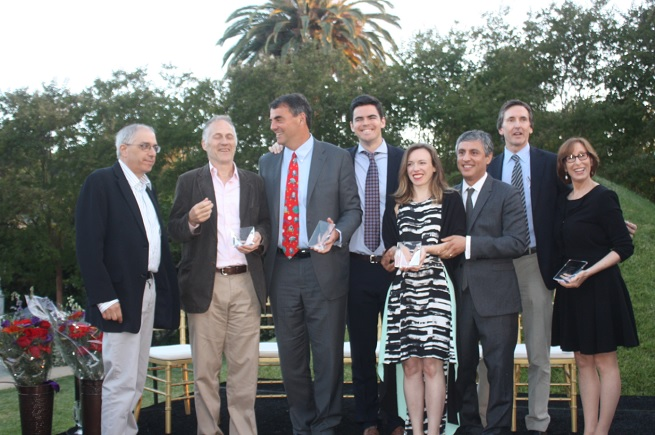 Visionary Awards presenters and winners. Tim Draper has the red tie, flanked on right by his son Billy.