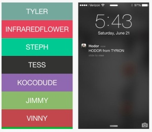 "Screenshots of newly launched iPhone app ""Yo Hodor,"" a copycat version of messaging app ""Yo"" for Game of Thrones fans."