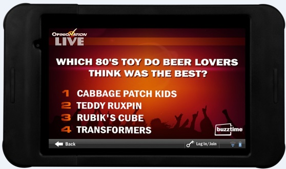 Buzztime's trivia game