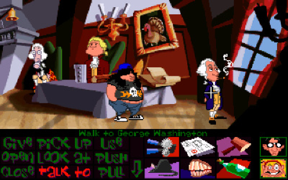 George Washington enjoys a smoke in Day of the Tentacle.