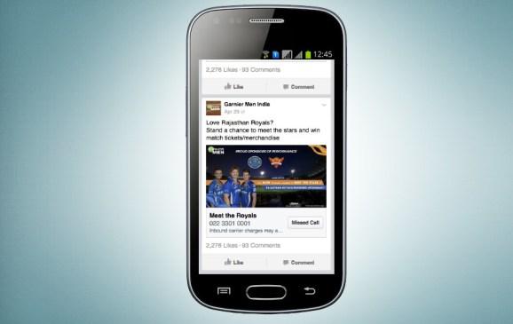 """Facebook's new """"missed call"""" ad unit."""