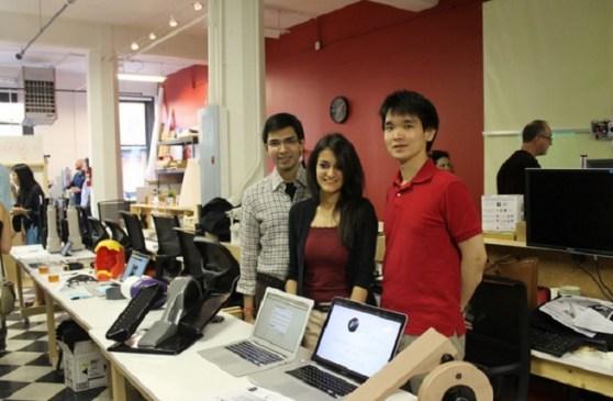 FitnessCubed founders Arnav Dalmia, Shivani Jain, and Ryota Sekine.