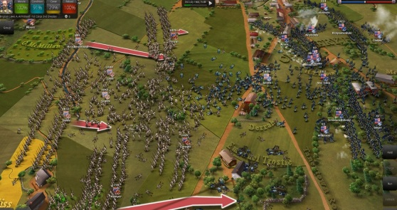 The South attacks the North in Ultimate General: Gettysburg