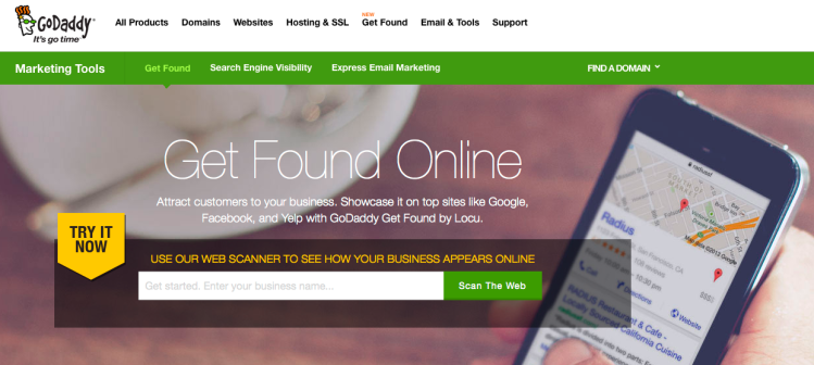GoDaddy's Get Found Online section