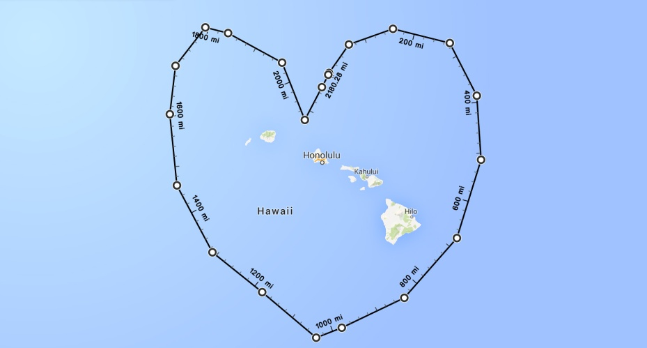 Google Maps' measurement tool shows how far you have to travel to demonstrate your love for Hawaii.