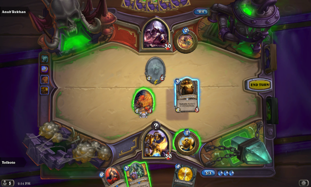 You'll want to get some minions on the board before you get overwhelmed by the computer's Hero Power.
