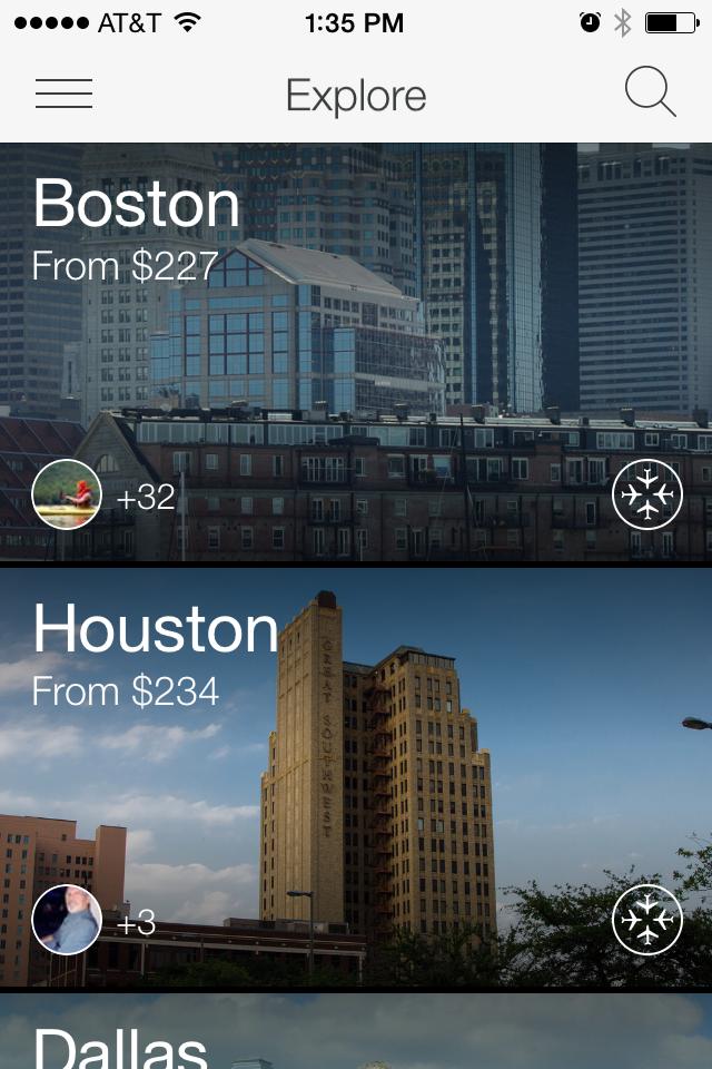 A screen shot of the Hitlist app.