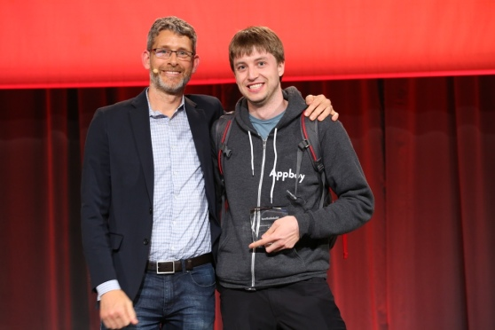 VentureBeat founder and CEO Matt Marshall with Appboy CTO Bill Magnuson