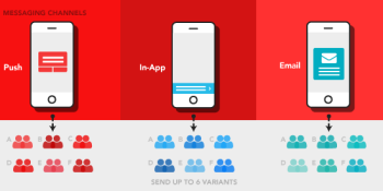 Appboy can test six variations of a mobile app messaging at once