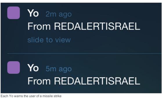 Red alert Israel on Yo