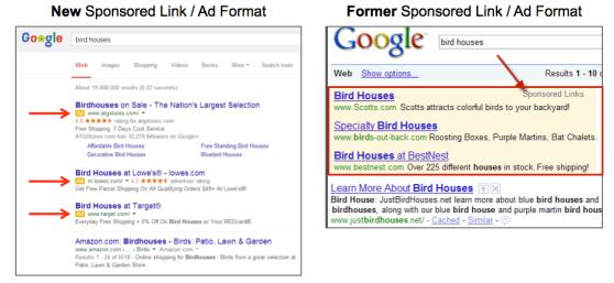 New Google ads versus old Google ads