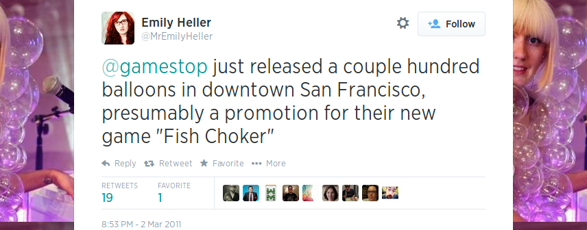 Comedian Emily Heller reacting to the Homefront balloons released in San Francisco.