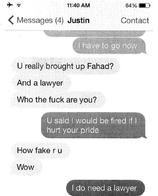 An alleged text message between Tinder's former VP of marketing and Tinder's CMO Justin Mateen