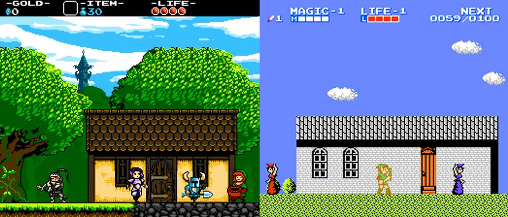 Shovel Knight vs. Zelda II: The Adventure of Link.