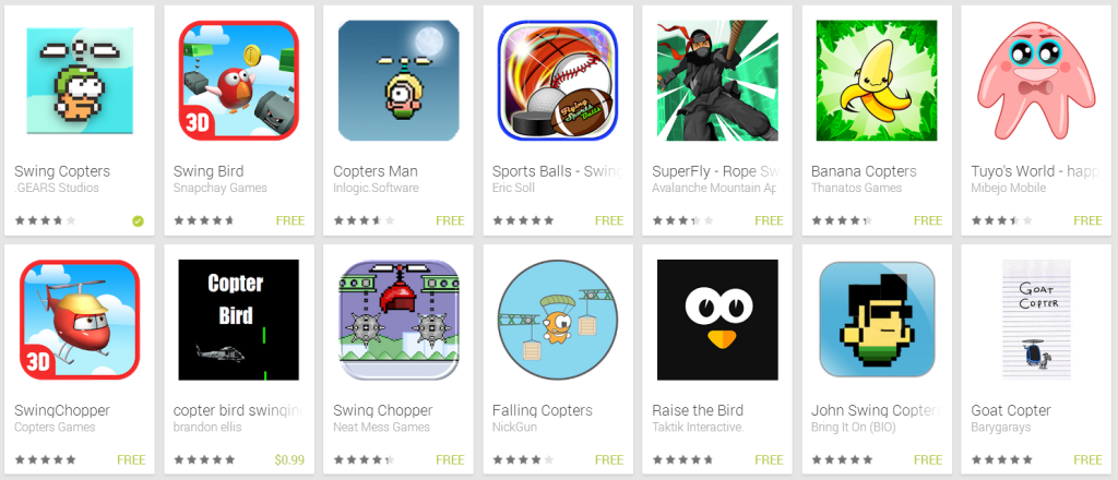 Today's Google Play store only has one Swing Copters.