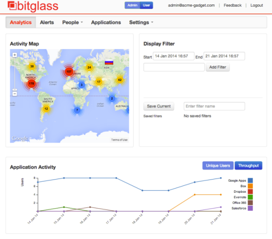 Bitglass gives IT administrators a dashboard for monitoring application activity for cloud and mobile apps.