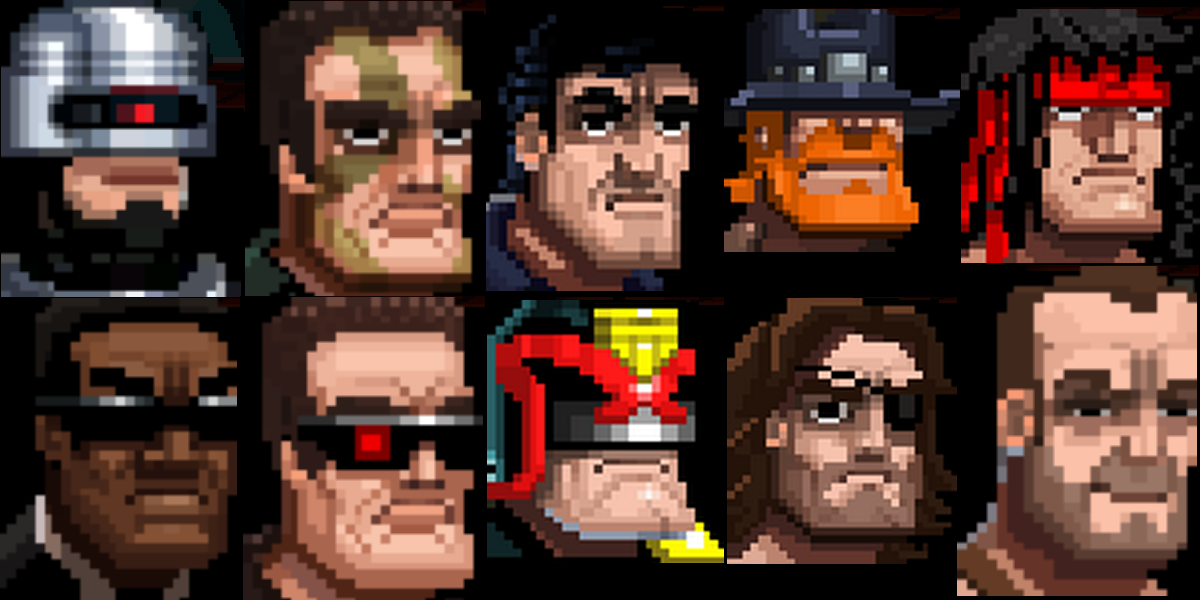 Can you pick out the 10 action heroes from their Broforce mugshots? There's no prize.