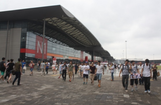 The outside view of one of 10 giant exhibit halls of ChinaJoy.