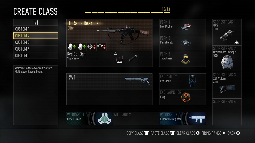 Call of Duty: Advanced Warfare features the Pick 13 system.