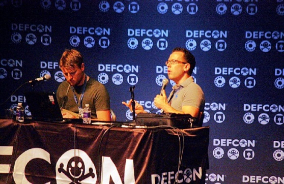 Thomas Kinsey and Dustin Hoffman of Exigent Systems talking at Defcon