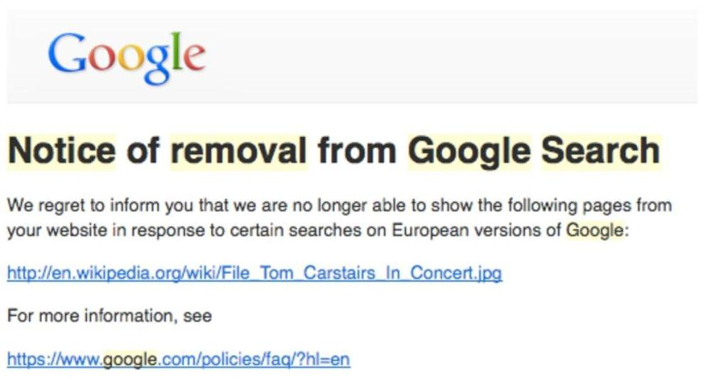 wikipedia removal google link forget