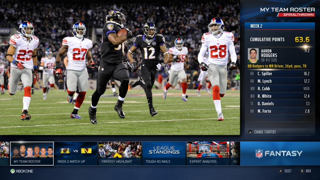 Fantasy football using the NFL app on Xbox One.