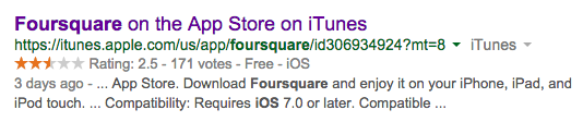 Foursquare App Store Rating Aug 29