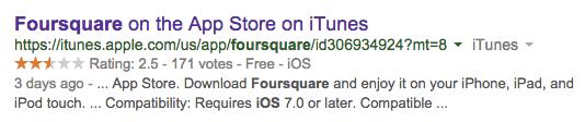 Foursquare App Store Rating Aug 29