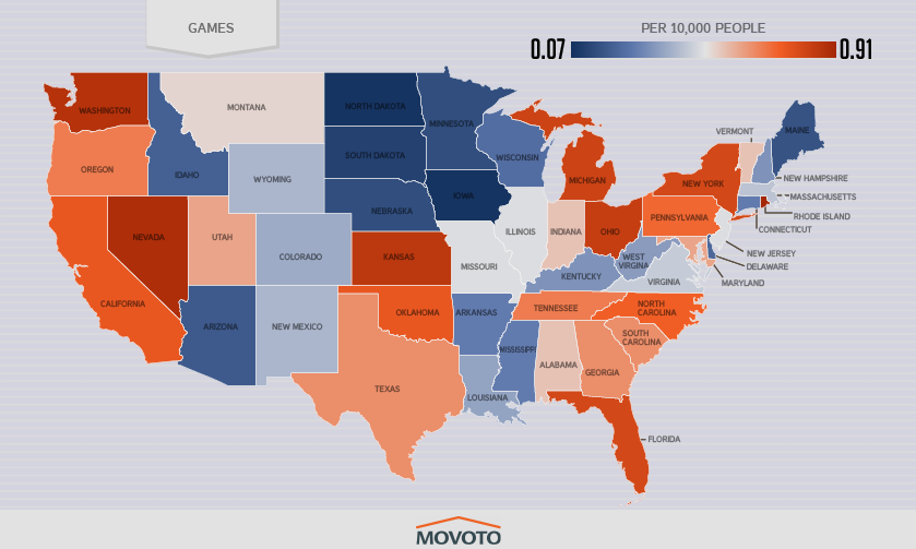 State-by-state breakdown of piracy rates for games.