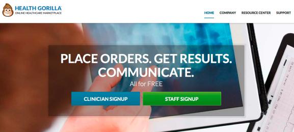 The Health Gorilla homepage