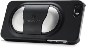 AliveCor's heart monitor nodule attached to an iPhone.
