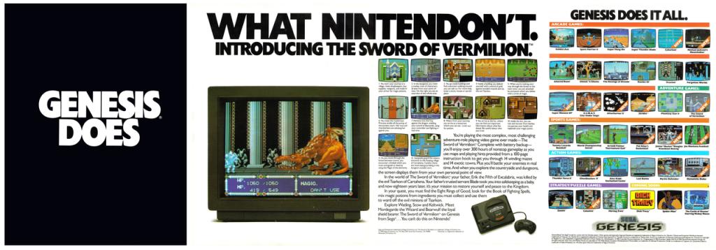 A spread ad for the Sega Genesis in a magazine.