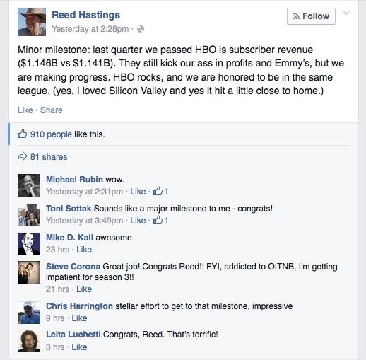 Netflix's Reed Hastings tweaks HBO on Facebook