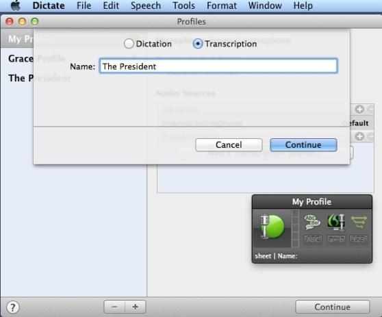 Screenshot -- Dragon Dictate 4 Transcription Profile