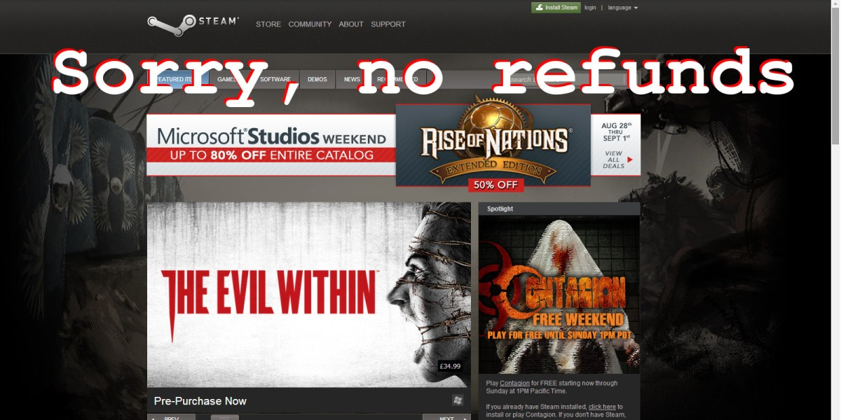 Steam's 'no refunds' policy for games under legal challenge