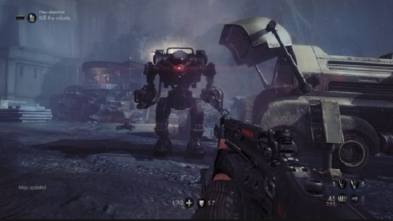 Wolfenstein; The New Order robot battle. You have to defeat two of these guys.