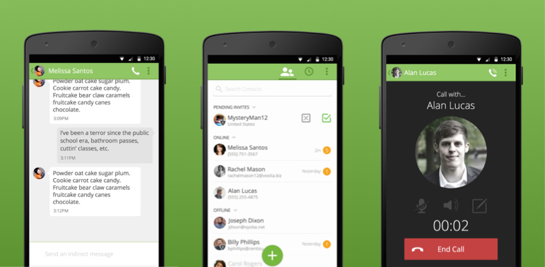 Screenshots of BitTorrent's Bleep chat application for Android.