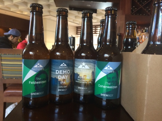 A collection of beers made with the Brewbot following the startup's graduation from the Techstars Austin incubator program.