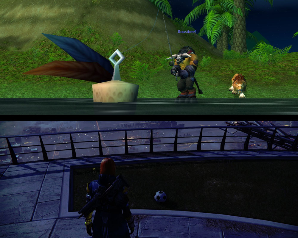 You can fish in WoW, or you could kind of play soccer in Destiny.