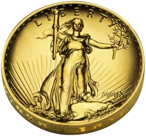 The 2009 Ultra High Relief Double Eagle Gold Coin from the U.S. Mint.