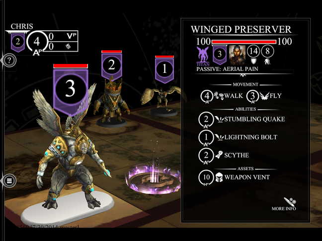 A Winged Preserver is about to receive a command inside the Golem Arcana App.