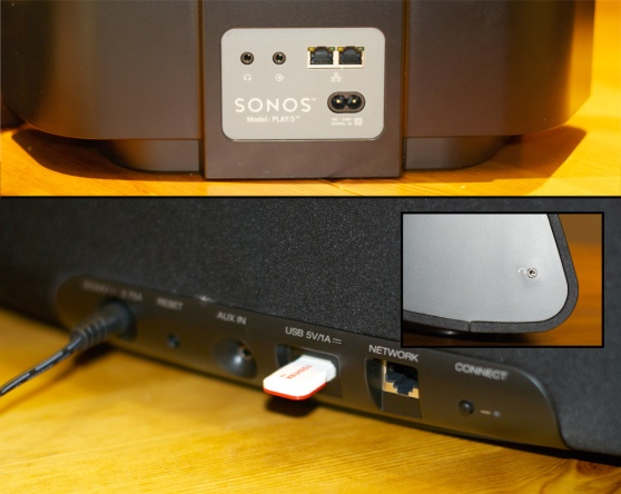 The Sonos Play:5 (above) has the most inputs of any Sonos speaker. All HEOS speakers have the same ports except for the HEOS 7 (inset) which offers a headphone jack as well.