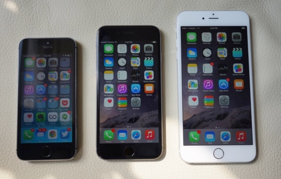 From left to right: Apple's iPhone 5S, 6, and 6 Plus