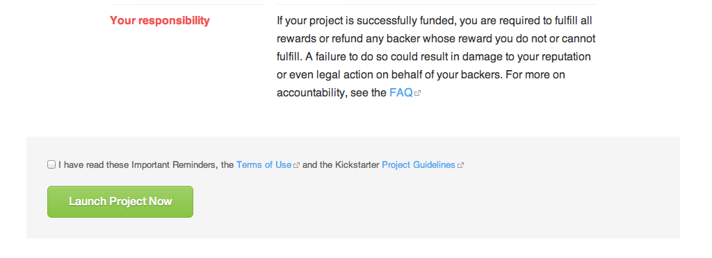 Kickstarter agreement