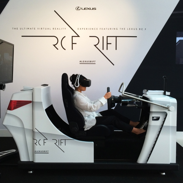The Lexus RC F simulator, using the Oculus DK2