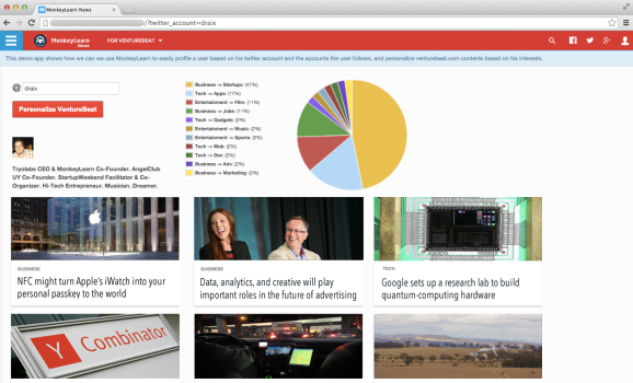 A VentureBeat screen organized by tweets of people the user follows.