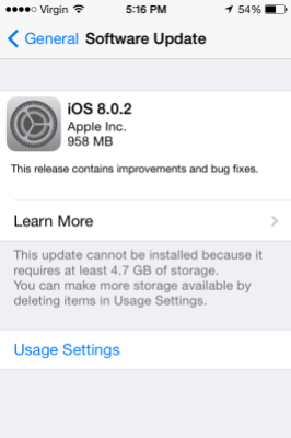 Screen shot of the now available iOS 8.0.2 update.