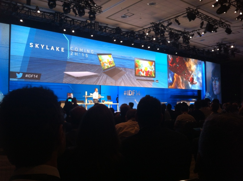 Intel's Kirk Skaugen introduces the Skylake microarchitecture at the Intel Developer Forum in San Francisco on Sept. 9.