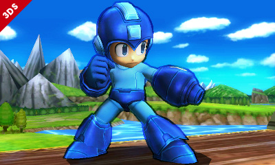 Mega Man is posing like the retro badass he is.