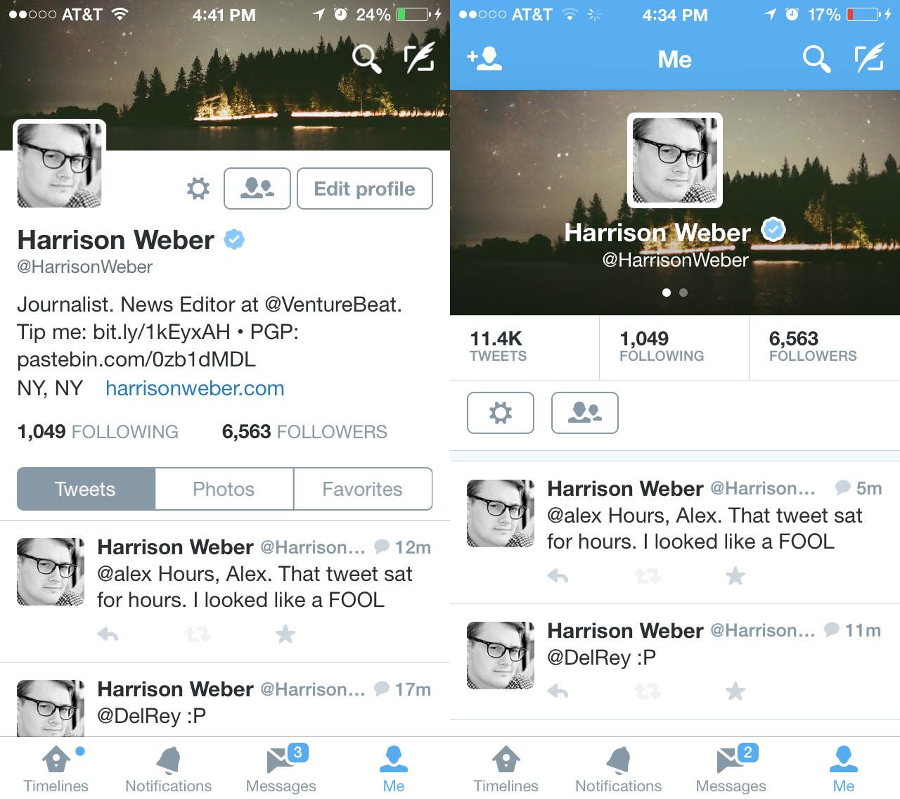 Twitter redesigns profiles on iOS | VentureBeat | Business ...